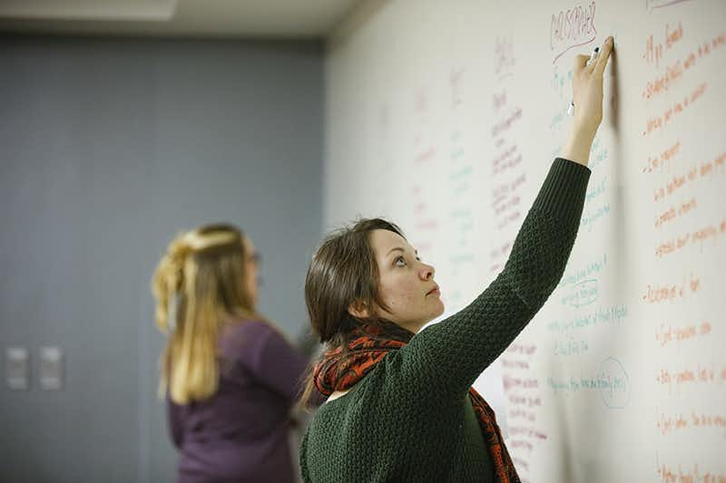 Students using whiteboard in class